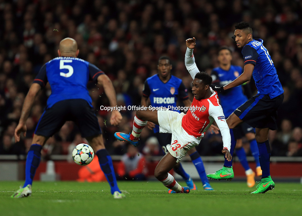 25 February 2015 - UEFA Champions League - Last 16 (1st Leg) - Arsenal v AS Monaco - Danny Welbeck of Arsenal surround by Monaco players - Photo: Marc Atkins / Offside.
