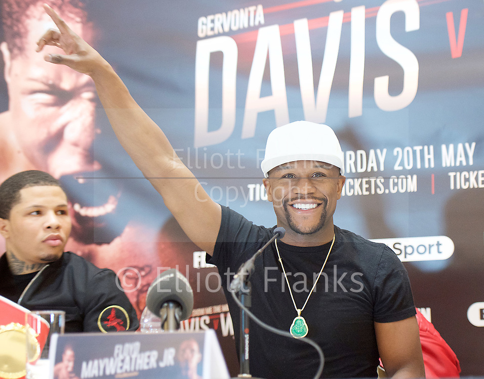 Floyd Mayweather Jr & Frank Warren press conference at The Savoy Hotel, London, Great Britain <br /> 7th March 2017 <br /> <br /> <br /> <br /> Gervonta Davis <br /> (an American professional boxer who has held the IBF junior lightweight title since January 2017)<br /> <br /> Floyd Joy Mayweather Jr. is an American former professional boxer who competed from 1996 to 2015 and currently works as a boxing promoter. <br /> <br /> <br /> <br /> Photograph by Elliott Franks <br /> Image licensed to Elliott Franks Photography Services