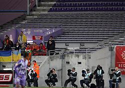 All 11 Shaktar Donestk fans show their support. Toulouse v Shakatar Donestk, Uefa Europa League, Stade Municipal, Toulouse, France, 5th November 2009.