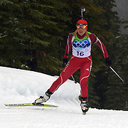 Winter Olympics, Vancouver, 2010. Madara Liduma, latvia, in action during the Women's 7.5 KM Sprint Biathlon at The Whistler Olympic Park, Whistler, during the Vancouver  Winter Olympics. 13th February 2010. Photo Tim Clayton
