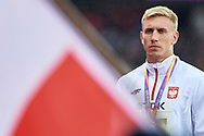 Great Britain, London - 2017 August 09: Piotr Lisek (OSOT Szczecin) of Poland celebrates his silver medal in men's pole vault while awarding ceremony during IAAF World Championships London 2017 Day 6 at London Stadium on August 09, 2017 in London, Great Britain.<br /> <br /> Mandatory credit:<br /> Photo by © Adam Nurkiewicz<br /> <br /> Adam Nurkiewicz declares that he has no rights to the image of people at the photographs of his authorship.<br /> <br /> Picture also available in RAW (NEF) or TIFF format on special request.<br /> <br /> Any editorial, commercial or promotional use requires written permission from the author of image.