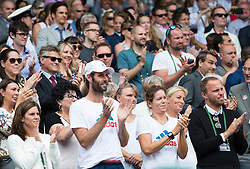 LONDON, ENGLAND - Saturday, July 9, 2016:  Angelique Kerber (GER)'s team after the Ladies' Singles - Final match on day thirteen of the Wimbledon Lawn Tennis Championships at the All England Lawn Tennis and Croquet Club. (Pic by Kirsten Holst/Propaganda)