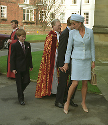 The Prince and Princess of Wales with their sons, Prince William (behind Diana) and Prince Harry, arrive for the Confirmation of Prince William in Windsor.