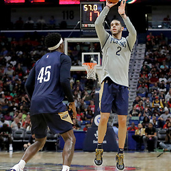 Oct 5, 2019; New Orleans, LA, USA; New Orleans Pelicans guard Lonzo Ball (2) shoots over forward Zylan Cheatham (45) during a open practice at the Smoothie King Center. Mandatory Credit: Derick E. Hingle-USA TODAY Sports