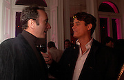 Robert Hanson and Matthew Mellon. Paris Hilton's Fragrance Launch Party at Il Bottaccio, Grosvenor Place. London. 16 May 2005. . ONE TIME USE ONLY - DO NOT ARCHIVE  © Copyright Photograph by Dafydd Jones 66 Stockwell Park Rd. London SW9 0DA Tel 020 7733 0108 www.dafjones.com