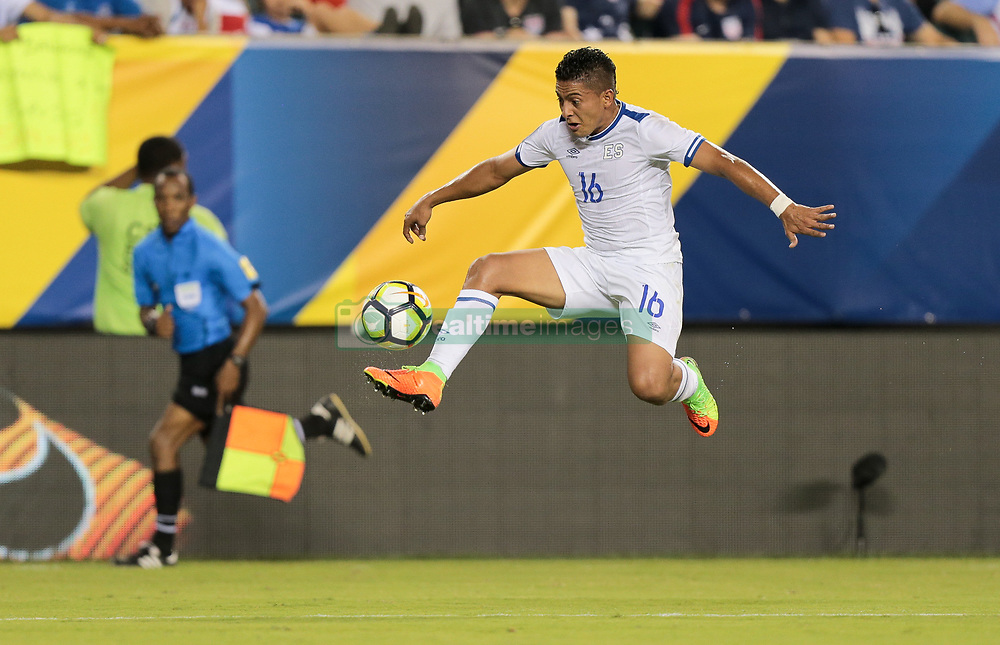 July 19, 2017 - Philadelphia, PA, USA - Philadelphia, PA - Wednesday July 19, 2017: Oscar Ceren during a 2017 Gold Cup match between the men's national teams of the United States (USA) and El Salvador (SLV) at Lincoln Financial Field. (Credit Image: © John Dorton/ISIPhotos via ZUMA Wire)