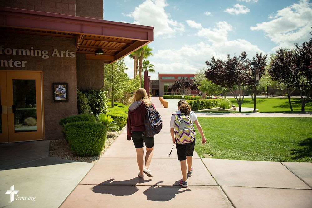 Mentor Merissa Lehr walks with Mark 10:14 Program student Bailey Lamonte (right) following class at Faith Lutheran Middle School & High School on Tuesday, May 26, 2015, in Las Vegas, Nev.  LCMS Communications/Erik M. Lunsford