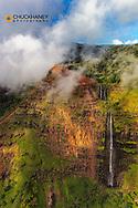Aerial of Waipoo Waterfall in Waimea Canyon in Kauai, Hawaii, USA