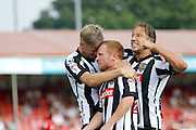Notts County celebrates Notts County forward Adam Campbell's (24) goal during the EFL Sky Bet League 2 match between Crawley Town and Notts County at the Checkatrade.com Stadium, Crawley, England on 27 August 2016. Photo by Andy Walter.