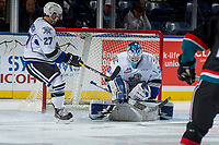 KELOWNA, CANADA - OCTOBER 4: Griffen Outhouse #30 of the Victoria Royals makes a save against the Kelowna Rockets on October 4, 2017 at Prospera Place in Kelowna, British Columbia, Canada.  (Photo by Marissa Baecker/Shoot the Breeze)  *** Local Caption ***