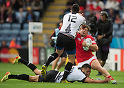 Leicester, Great Britain, DTH Van Der MERWE run obstructed by, standing, Florin VLACCU and Madalin LEMNARU, during the Pool D game, Canada vs Romania.  2015 Rugby World Cup,  Venue, Leicester City Stadium, ENGLAND.  Tuesday    06/10/2015.   [Mandatory Credit; Peter Spurrier/Intersport-images]