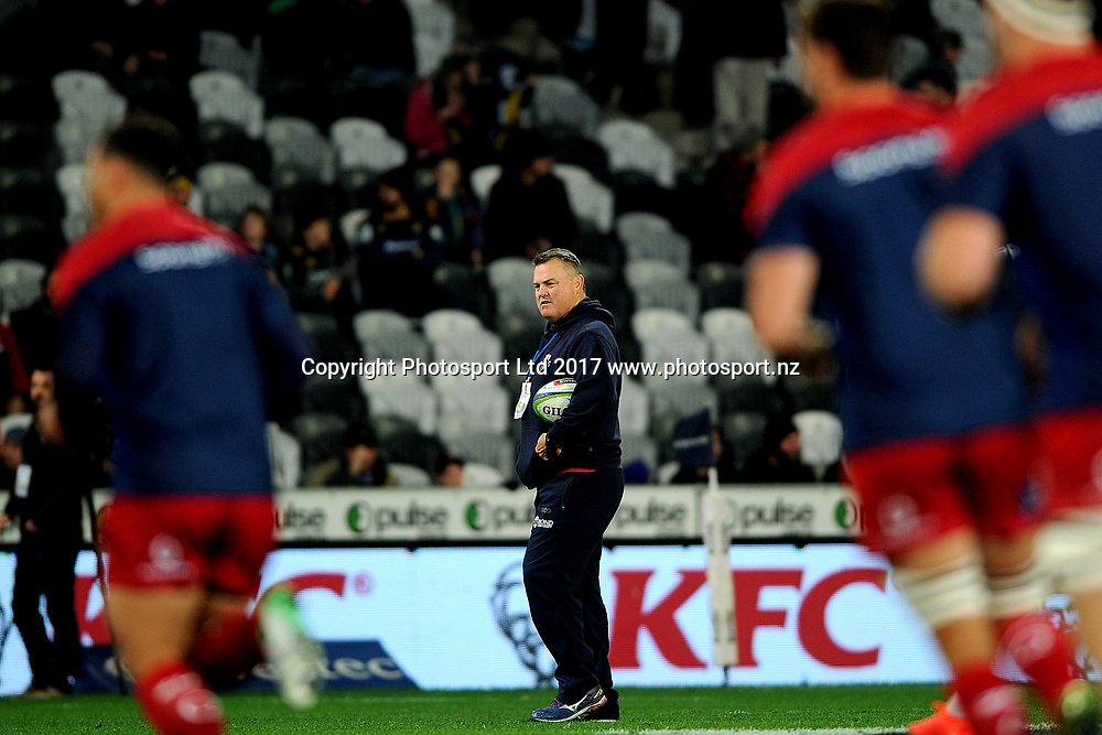 Nick Stiles coach of the Reds observes the warm up prior to the Super Rugby match between the Highlanders and the Reds, held at Forsyth Barr Stadium, Dunedin, New Zealand, on 14th July 2017. Credit: Joe Allison / www.photosport.nz
