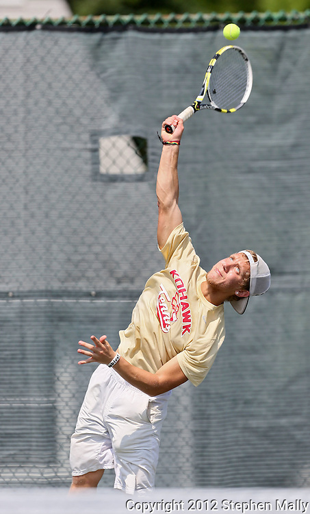 Coe's Sean Stokstad serves the ball during his match against Luther's Nick Mozena in the Iowa Conference Men's Tennis Championships at Veterans Memorial Tennis Center in Cedar Rapids on Saturday afternoon, May 5, 2012. (Stephen Mally/Freelance)
