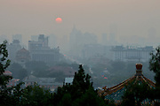 Jingshan (Coal Hill) Park. Sunrise over Wusi Dajie.
