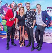 2018, 15 Juli. Pathe ArenA, Amsterdam. Premiere van Hotel Transsylvanie 3. Op de foto: Fernando Halman, Ilse Warringa, Charly Luske en Tony Neef