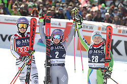 27.01.2018, Lenzerheide, SUI, FIS Weltcup Ski Alpin, Lenzerheide, Riesenslalom, Damen, Flower Zeremonie, im Bild Viktoria Rebensburg (GER),Tessa Worley (FRA),Meta Hrovat (SLO) // Viktoria Rebensburg of Germany Tessa Worley of France.Meta Hrovat of Slovenia during the Flowers ceremony for the ladie's Giant Slalom of FIS Ski Alpine World Cup in Lenzerheide, Austria on 2018/01/27. EXPA Pictures &copy; 2018, PhotoCredit: EXPA/ Sammy Minkoff<br /> <br /> *****ATTENTION - OUT of GER*****