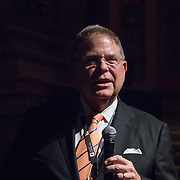 FEBRUARY 19, 2018--MIAMI, FLORIDA-<br /> Alberto Ibarguen, President and CEO of the Knight Foundation, introduces panel members to attendees  following a screening of the movie The Post. This was part of the opening reception for the Knight Media Forum.<br /> (Photo by Angel Valentin)
