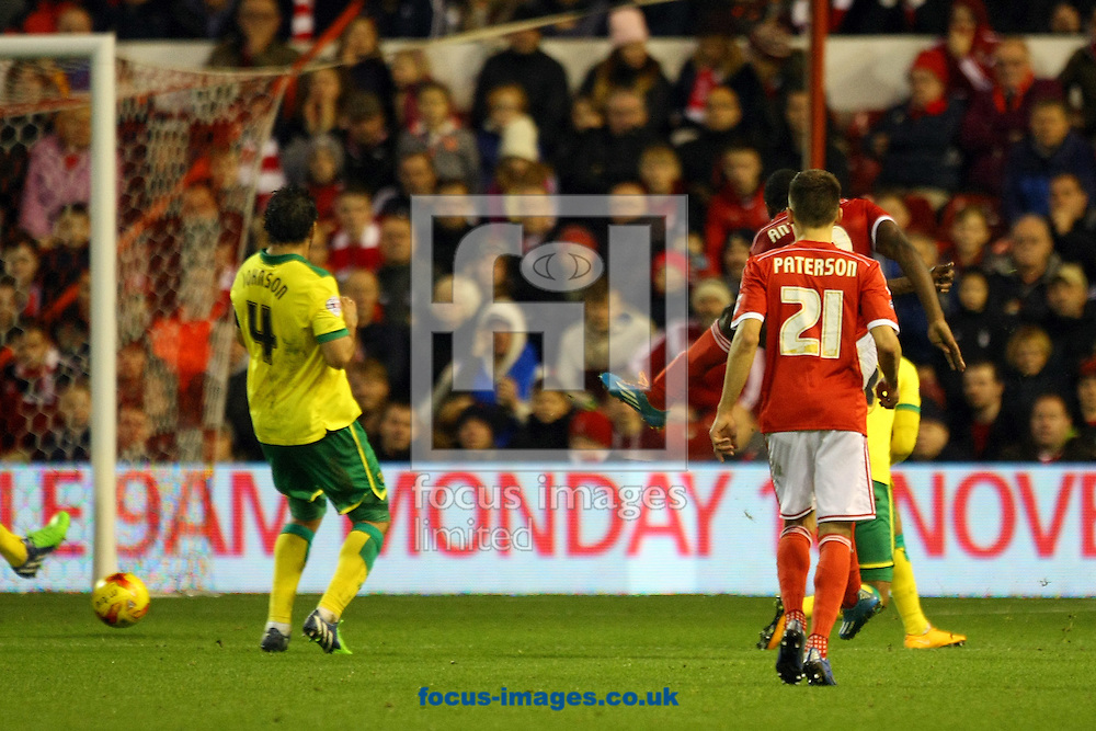 Britt Assombalonga of Nottingham Forest scores his sides equalising goal and celebrates during the Sky Bet Championship match at the City Ground, Nottingham<br /> Picture by Paul Chesterton/Focus Images Ltd +44 7904 640267<br /> 08/11/2014