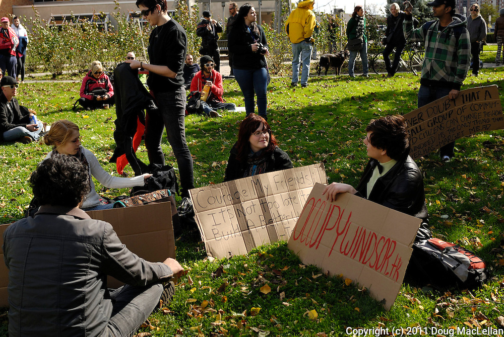 Windsor, Ontario. October 2011. 'Occupy Windsor', Day 1, general assemply, march and occupation.