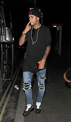 Neymar da Silva Santos Júnior aka Neymar Jr, leaving Tape nightclub. The Brazilian footballer got onto a bus with around 30 women, which drove them across town to Hammersmith, where a number of the scantily clad women got off the bus to use the toilet. Neymar was partying on the evening news had broken that he has asked for his team mate Edinson Cavani at Paris Saint-Germain to be sold, following a bust up between the pair.<br />