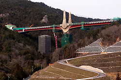 """Detail of elaborate architectural design of concrete bridge piers at Rittoh bridge near Kyoto in Japan. The design of the bridge is based on a concept of a """"Bird in Flight"""" and in particular the Japanese crane."""