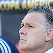FOXBOROUGH, MASSACHUSETTS - JUNE 18:  Gerardo Martino, Manager of the Argentina National team during the Argentina Vs Venezuela Quarterfinal match of the Copa America Centenario USA 2016 Tournament at Gillette Stadium on June 18, 2016 in Foxborough, Massachusetts. (Photo by Tim Clayton/Corbis via Getty Images)