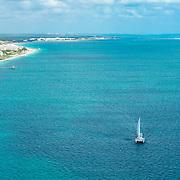 Sailing the coastline of Puerto Morelos. Riviera Cancun, Mexico.