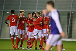 EDINBURGH, SCOTLAND - Tuesday, November 1, 2016: Wales' Keenan Patten celebrates scoring the second equalising goal against Scotland with team-mates during the Under-16 2016 Victory Shield match at ORIAM. (Pic by David Rawcliffe/Propaganda)