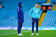 Leeds United defender Ben White (5) and Leeds United forward Patrick Bamford (9) arrives at the ground during the EFL Sky Bet Championship match between Leeds United and Cardiff City at Elland Road, Leeds, England on 14 December 2019.