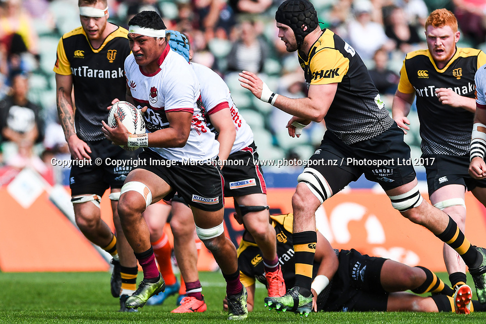 North Harbour Murphy Taramai in action during a match against Taranaki.<br /> North Harbour v Taranaki, Mitre 10 Cup Rugby, QBE Stadium, Auckland, New Zealand. 15 October 2017. &copy; Copyright Image: Marc Shannon / www.photosport.nz.