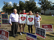 From left: Lamar Principal James McSwain; Scott Allen, HSPVA Principal; Connie Berger, Reagan HS Principal; and Carol Mosteit, HSLECJ Principal gather to get the word out about early voting.<br />