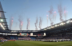 Jul 31, 2013; Kansas City, KS, USA; A general view during the playing of the national anthem before the 2013 MLS All Star Game at Sporting Park. Mandatory Credit: Denny Medley-USA TODAY Sports