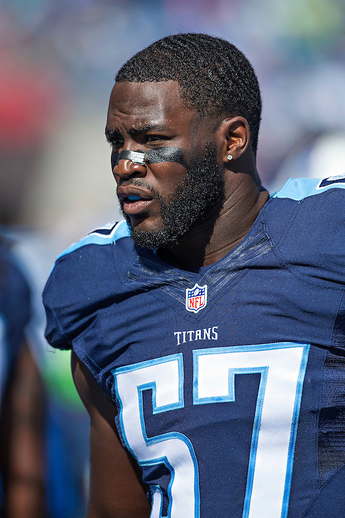 NASHVILLE, TN - OCTOBER 18:  Justin Staples #57 of the Tennessee Titans before a game against the Miami Dolphins at LP Field on October 18, 2015 in Nashville, Tennessee.  The Dolphins defeated the Titans 38-10.  (Photo by Wesley Hitt/Getty Images) *** Local Caption *** Justin Staples