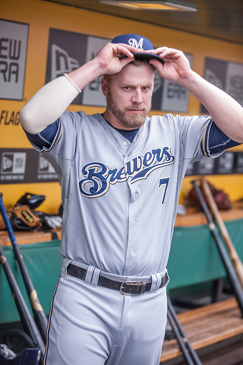 PITTSBURGH, PA - JUNE 08: Mark Reynolds #7 of the Milwaukee Brewers looks on during the game against the Pittsburgh Pirates at PNC Park on June 8, 2014 in Pittsburgh, Pennsylvania. (Photo by Rob Tringali) *** Local Caption *** Mark Reynolds