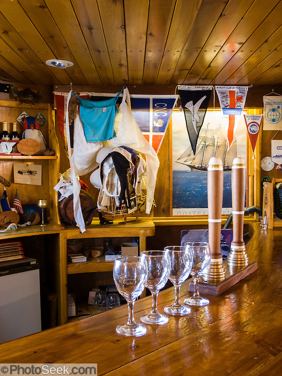 "Women can exchange their bra for a free drink at the bar of Vernadsky Research Base (Akademik Vernadsky), a Ukrainian Antarctic Station at Marina Point on Galindez Island in the Argentine Islands, Antarctica. The United Kingdom first established research here as Base F or ""Argentine Islands"" on Winter Island in 1947, then built a larger hut on Galindez Island in 1954, renamed it Faraday Station in 1977, and shocked the scientific community by discovering the Antarctic ""ozone hole"" in 1985. The base was transferred to Ukraine in 1996."