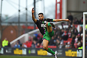 Bristol City defender Scott Golbourne in the air during the Sky Bet Championship match between Nottingham Forest and Bristol City at the City Ground, Nottingham, England on 27 February 2016. Photo by Jon Hobley.