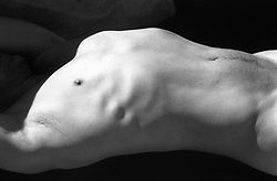 detail of man's chest and stomach area.