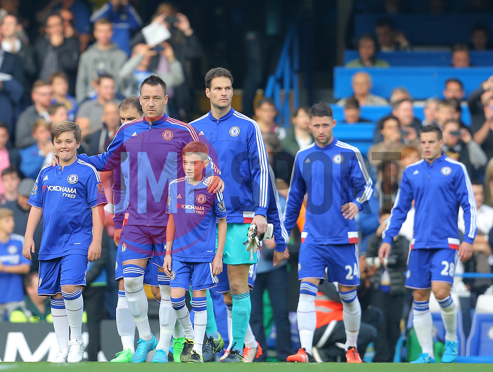 John Terry of Chelsea leads his team out ahead of the match - Mandatory byline: Paul Terry/JMP - 07966 386802 - 03/10/2015 - FOOTBALL - Stamford Bridge - London, England - Chelsea v Southampton - Barclays Premier League