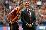 Bradford City defender Anthony McMahon (29) and Bradford City Manager Stuart McCall look calm before the EFL Sky Bet League 1 play off final match between Bradford City and Millwall at Wembley Stadium, London, England on 20 May 2017. Photo by Simon Davies.
