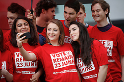 © Licensed to London News Pictures. 10/05/2016. London, UK. Labour campaigners pose for a selfie while they wait for the official unveiling of the new LABOUR IN FOR BRITAIN battle bus by Labour Party leader Jeremy Corbyn and Alan Johnson, Chairman of 'Labour In for Britain'.  Gloria De Piero, Shadow Minister for Young People and Voter Registration is also due to attend. Photo credit: Peter Macdiarmid/LNP
