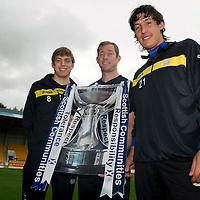 St Johnstone v St Mirren League Cup Preview....19.09.11<br /> In the last round St Johnstone beat Livingston 3-0, one of the goals credited to Frazer Wright (centre) who says it wasn't his goal, however both Murray Davidson and Francisco Sandaza are both claiming the goal....<br /> see story by Gordon Bannerman Tel: 07729 865788<br /> Picture by Graeme Hart.<br /> Copyright Perthshire Picture Agency<br /> Tel: 01738 623350  Mobile: 07990 594431