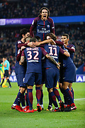 Angel Di Maria (psg) scored the second goal, celebration with Edinson Roberto Paulo Cavani Gomez (psg) (El Matador) (El Botija) (Florestan), Thiago Silva (PSG), Neymar da Silva Santos Junior - Neymar Jr (PSG), Daniel Alves da Silva (PSG), Javier Matias Pastore (psg), Adrien Rabiot (psg), Marco Verratti (psg) during the French Championship Ligue 1 football match between Paris Saint-Germain and FC Nantes on November 18, 2017 at Parc des Princes stadium in Paris, France - Photo Stephane Allaman / ProSportsImages / DPPI