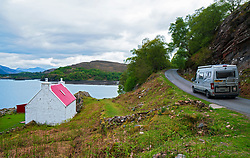 Motorhome on single track road in Torridon on the North Coast 500 scenic driving route in northern Scotland, UK