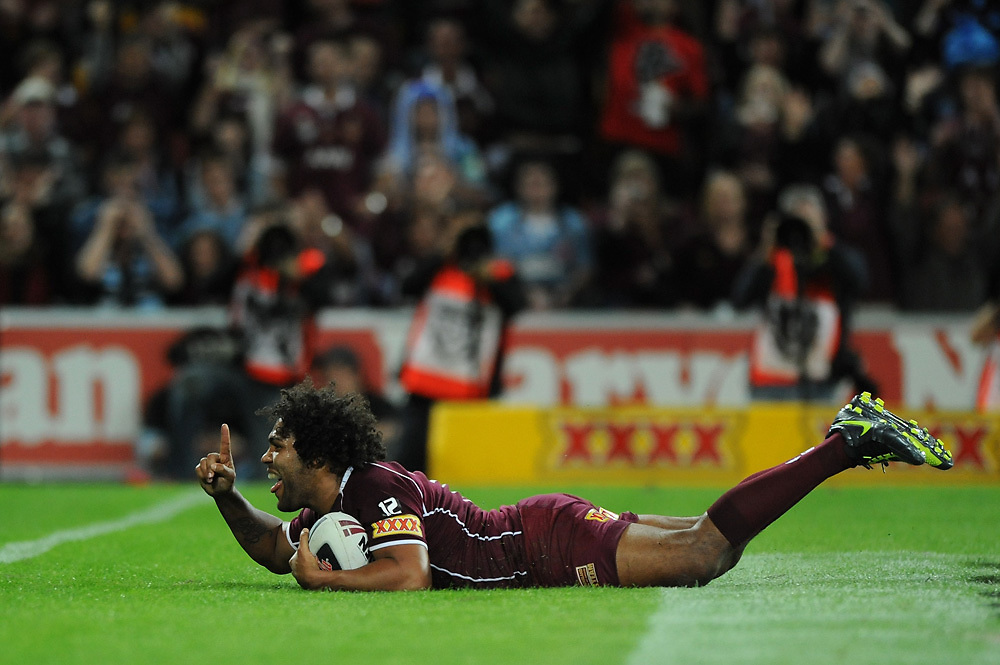July 6th 2011: Sam Thaiday of the Maroons scores a try during game 3 of the 2011 State of Origin series at Suncorp Stadium in Brisbane, QLD, Australia on July 6, 2011. Photo by Matt Roberts / mattrimages.com.au / QRL