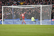 Henri Lansbury salutes the crowd after scoring his teams second goal during the Sky Bet Championship match between Brighton and Hove Albion and Nottingham Forest at the American Express Community Stadium, Brighton and Hove, England on 7 February 2015. Photo by Geoff Penn.