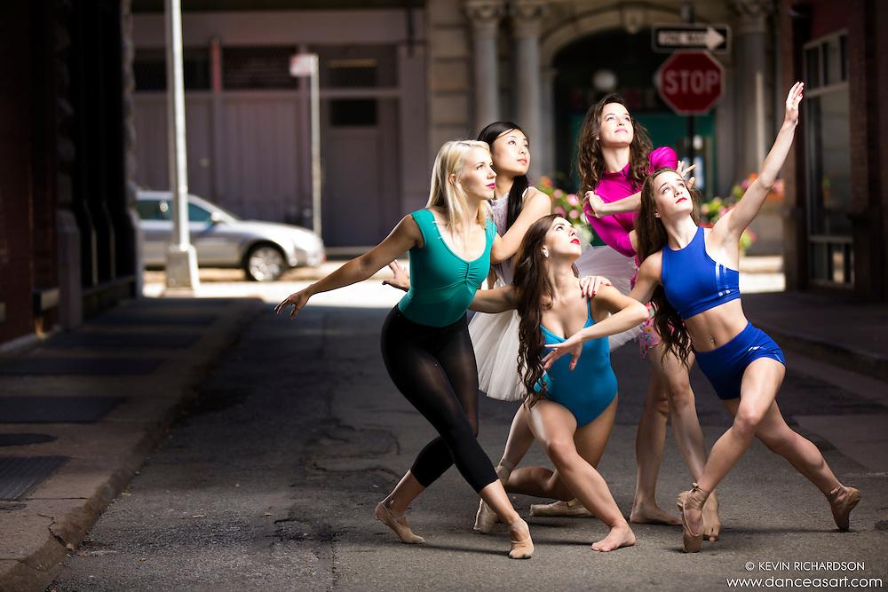 Streets of New York City Dance As Art Photography Project in Tribeca featuring dancers Marah King, Shoko Fujita, Lindsey Horrigan, Kathryn Mulcahey and Ashtyn Muzio.