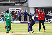 Joe Root of England takes the wicket of George Dockrell of Ireland, lbw during the One Day International match between England and Ireland at the Brightside County Ground, Bristol, United Kingdom on 5 May 2017. Photo by Andrew Lewis.