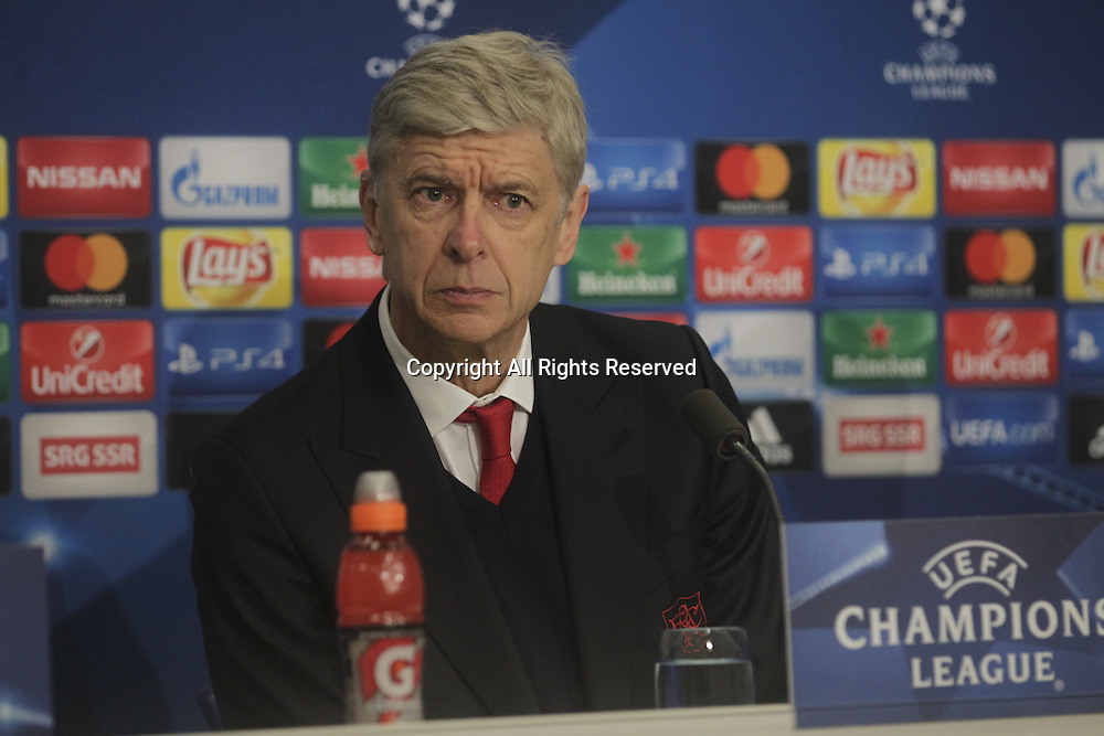 06.12.2016. Basel, Switzerland. Coach Arsene Wenger(Arsenal) at the after-game Press Conférence at the Champions League Group A FC Basle versus Arsenal at St. Jakob Park in Basel, Switzerland
