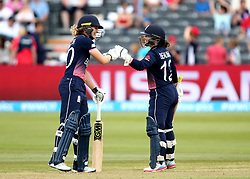 Sarah Taylor of England Women and Tammy Beaumont of England Women bump fists as they build a partnership together - Mandatory by-line: Robbie Stephenson/JMP - 09/07/2017 - CRICKET - Bristol County Ground - Bristol, United Kingdom - England v Australia - ICC Women's World Cup match 19