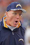 SAN DIEGO - DECEMBER 5:  Head Coach Marty Schottenheimer of the San Diego Chargers yells toward the field during the game against the Denver Broncos on December 5, 2004 at Qualcomm Stadium in San Diego, California. The Chargers defeated the Broncos 20-17. ©Paul Anthony Spinelli *** Local Caption *** Marty Schottenheimer